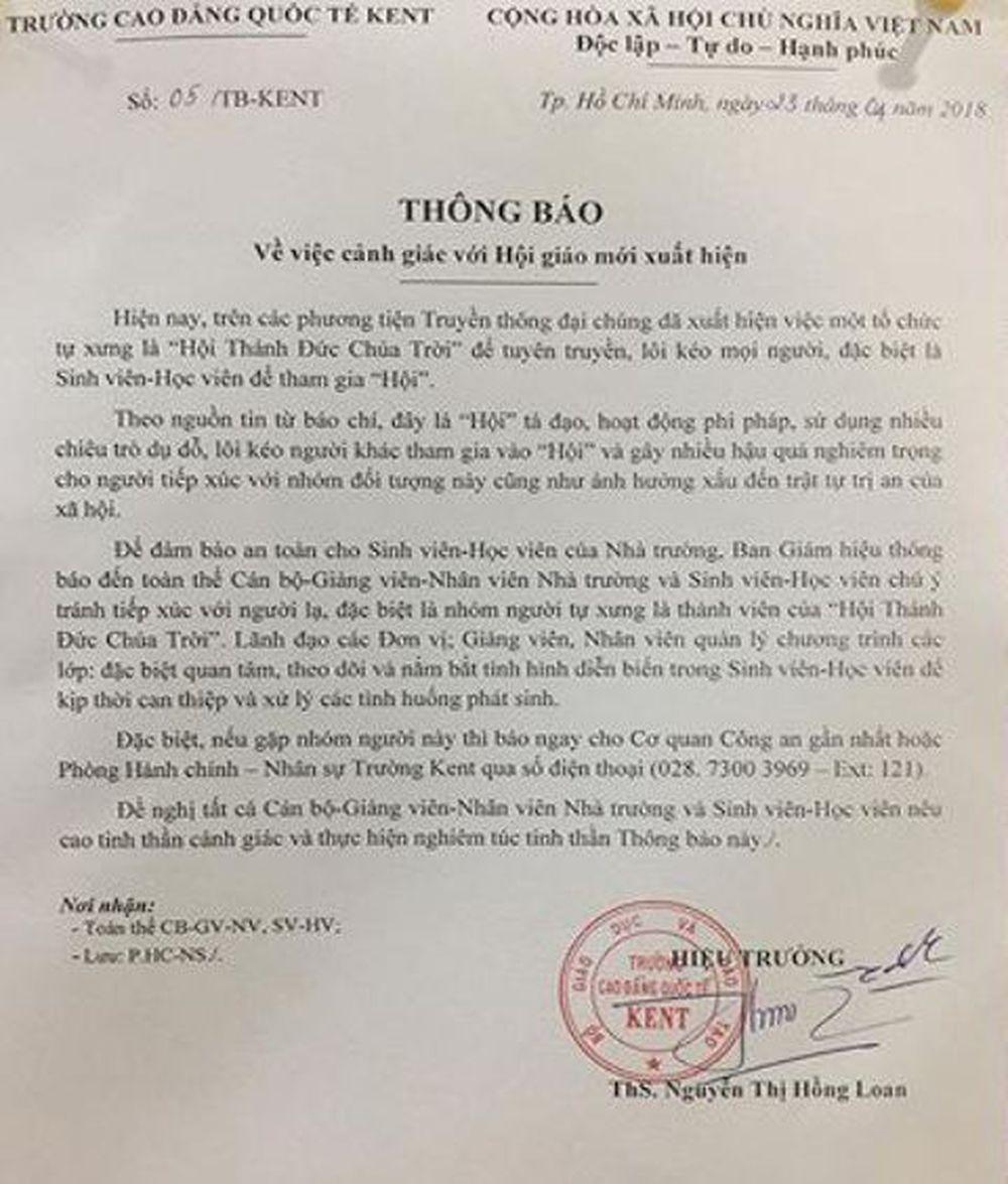 Thông báo của một trường cao đẳng tại TP Hồ Chí Minh cho sinh viên và cán bộ, công nhân viên cảnh giác với \