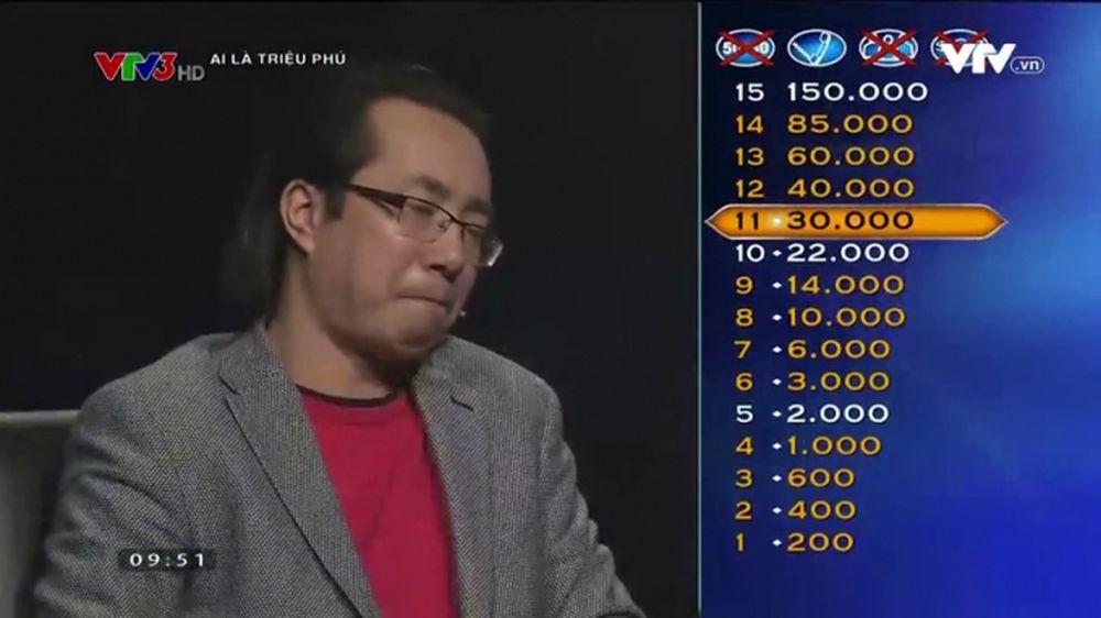 """Nhà báo Trương Anh Ngọc đã """"chấp"""" một quyền sự trợ giúp trong chương trình """"Ai  là triệu phú"""". (Ảnh cắt từ clip. Nguồn: VTV)."""