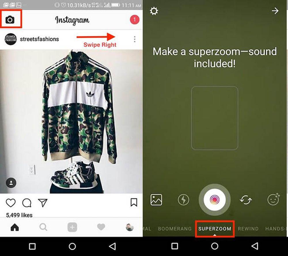 Ở màn hình Newsfeed của trang chủ hãy nhấp vào biểu tượng máy ảnh ở trên cùng bên trái hoặc vuốt sang phải để mở ứng dụng Camera.