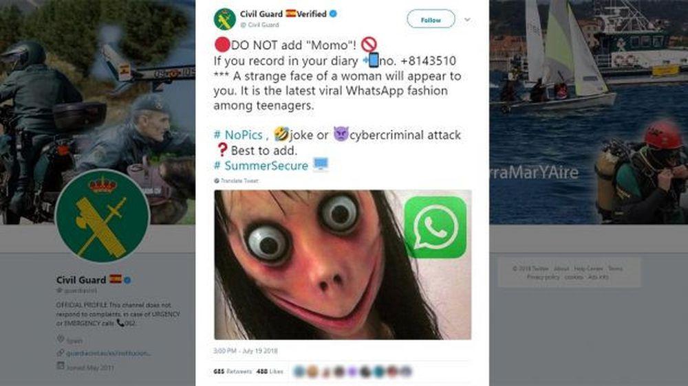 Lực Lượng Dân Phòng Tây Ban Nha Cảnh Báo Thanh Thiếu Niên Tránh Xa Momo -  Ảnh Chụp Màn Hình Twitter