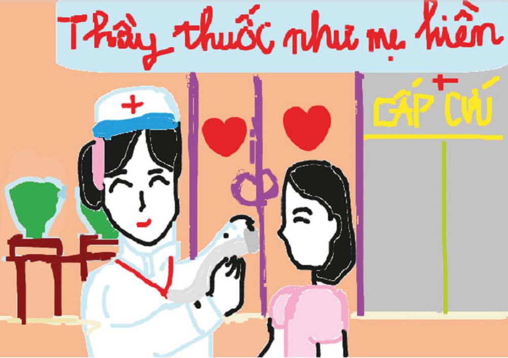 Tấm thiệp là bức vẽ của trẻ thơ gửi đến y bác sĩ chứa chan tình cảm.
