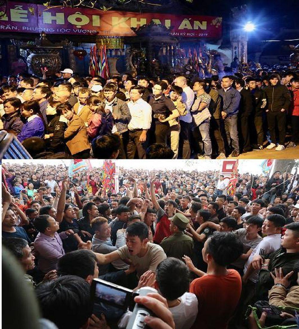 Người dân và du khách xếp hàng trật tự chờ giờ phát ấn tại Lễ hội đền Trần Nam Định 2019 (đêm 14, sáng 15 tháng Giêng - ảnh lớn) và hình ...