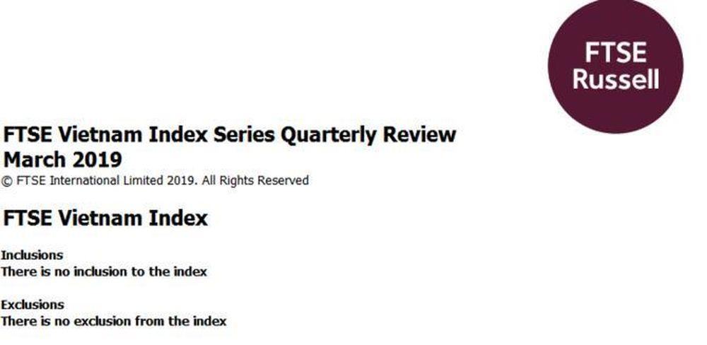 FTSE Vietnam Index không thêm bớt cổ phiếu nào trong kỳ