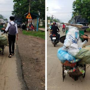 Nam sinh giúp cụ ông đẩy xe phế liệu lên dốc nhận 'mưa' lời khen từ dân mạng