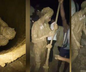Người đàn ông may mắn được giải cứu sau khi ngã xuống hố bùn sâu 24 mét