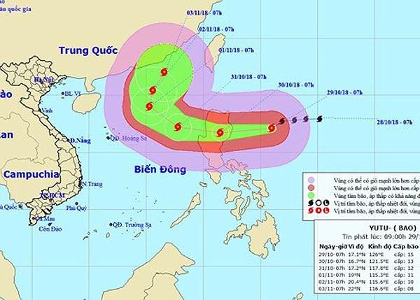 Bão Yutu gây thời tiết xấu ở khu vực Đông Bắc Biển Đông