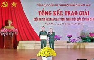 Trao giải Cuộc thi tìm hiểu pháp luật trong thanh niên quân đội