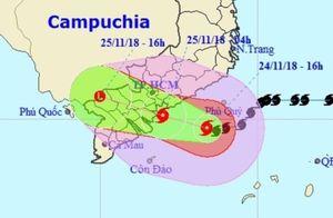 Bão đang đổ bộ trực tiếp vào Vũng Tàu, sẽ có mưa rất to ở TP.HCM
