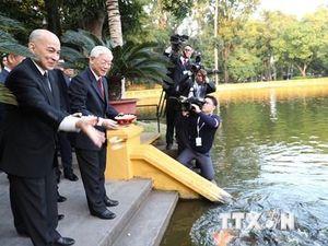 Hình ảnh các hoạt động của Quốc vương Campuchia tại Việt Nam