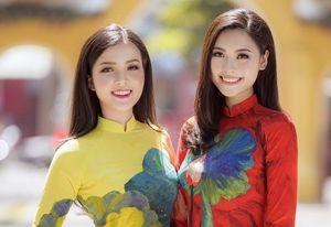 Hoa khôi Thúy Vi 'đọ sắc' cùng Người đẹp biển Đào Hà trong tà áo dài xuân