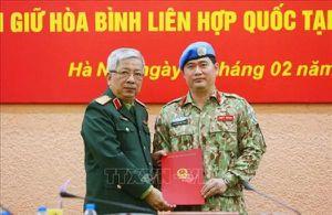 Việt Nam cử thêm một sĩ quan làm nhiệm vụ gìn giữ hòa bình tại Nam Sudan
