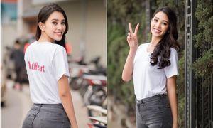 Hoa hậu Tiểu Vy giản dị nhưng vẫn đẹp rạng rỡ khi chạy từ thiện ở Hà Nội