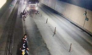 Nhóm thanh niên chặn xe tải lưu thông qua hầm Phước Tượng