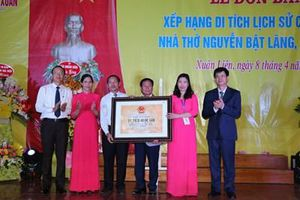 Đón nhận Bằng xếp hạng di tích quốc gia nhà thờ Tiến sĩ Nguyễn Bật Lãng
