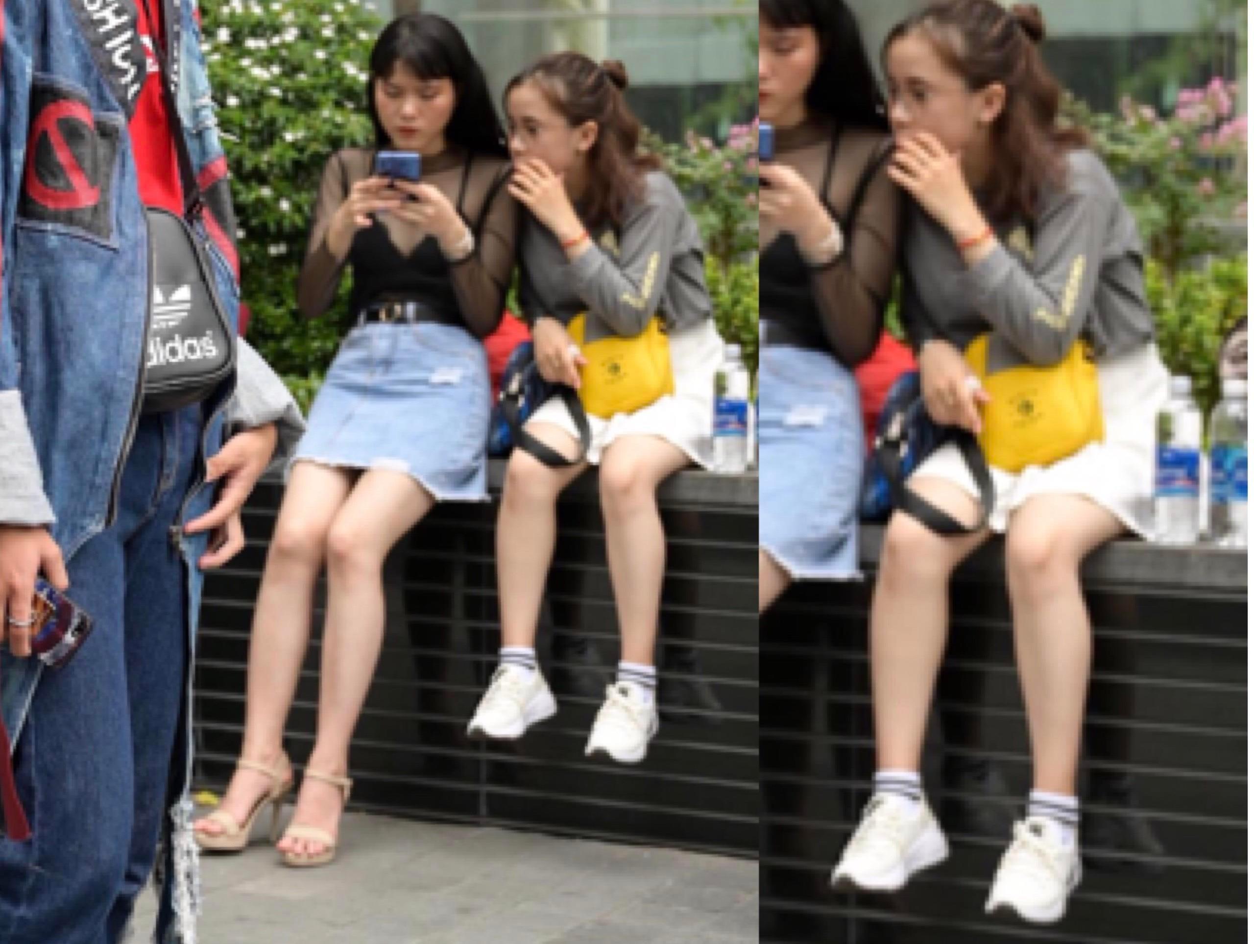 Lỡ lọt khung hình người lạ, cô gái được khen 'chân ngắn đáng yêu mà'