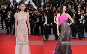 Hai thiên thần nội y hàng đầu xứ Trung mặc váy trong suốt trên thảm đỏ Cannes 2019