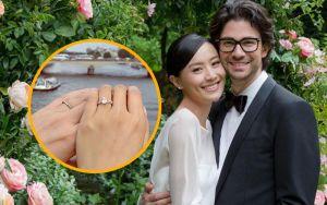 Trần Pháp Lai xinh đẹp trong đám cưới, chú rể Emmanuel tự thiết kế nhẫn cưới