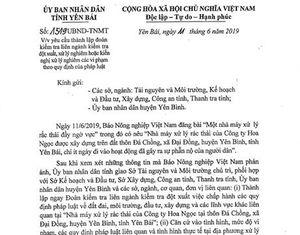 UBND tỉnh Yên Bái yêu cầu kiểm tra thông tin Báo NNVN