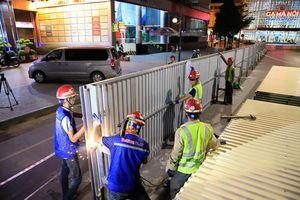 Suốt đêm dò mìn thi công ga ngầm trên phố, làm đường sắt Nhổn - ga Hà Nội