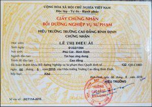 Tuýt còi trường CĐ Bình Định cấp giấy chứng nhận sư phạm trái quy định