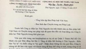 Công ty điện lực Thái Nguyên và những phản ứng tích cực sau loạt bài phản ánh của báo Pháp luật Việt Nam