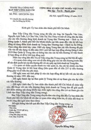 TP Hồ Chí Minh: Lãnh đạo UBND TP cần đối thoại với tiểu thương TTTM An Đông