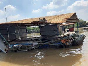 Tàu đâm chìm bè cá trên sông Tiền, thiệt hại cả tỉ đồng