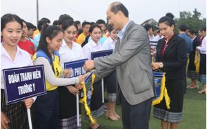 Hà Tĩnh: Khai mạc giải bóng đá, bóng chuyền sinh viên Lào