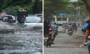 Khu nhà giàu ở Sài Gòn nắng bụi mù ô nhiễm, mưa xuống đường ngập như sông