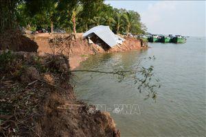 Mực nước xuống quá thấp gây sạt lở bờ sông ở Long An