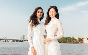 Hoa hậu Siêu Quốc gia mặc áo dài thả dáng ngọc bên Hoàng Thùy nóng bóng trên sông Sài Gòn