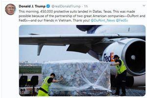Tổng thống Trump cảm ơn Việt Nam phối hợp chuyển giao hơn 450.000 bộ đồ bảo hộ cho Mỹ