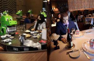 Nhà hàng mở cửa lại - khách đội mũ giãn cách, ngồi ăn với mannequin