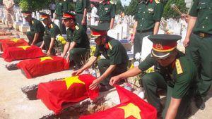 An táng 5 hài cốt liệt sĩ được tìm thấy tại huyện miền núi Quảng Trị