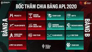 Kết quả bốc thăm chia bảng và lịch thi đấu giải quốc tế APL 2020 khởi tranh ngày 19/06