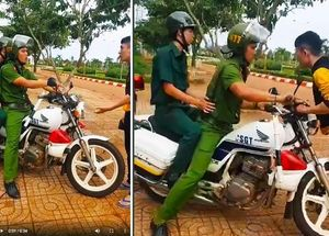 Cảnh sát Trật tự lao mô tô công vụ vào người vi phạm