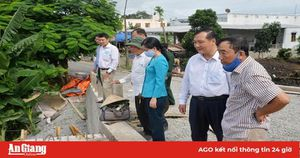 Lãnh đạo huyện Châu Thành khảo sát tiến độ thi công cầu Mương Miễu