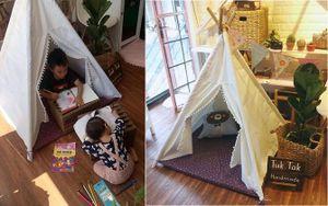Mẹ Lâm Đồng làm lều vải chưa đến 200 nghìn cho con, bé chơi cả ngày không biết chán