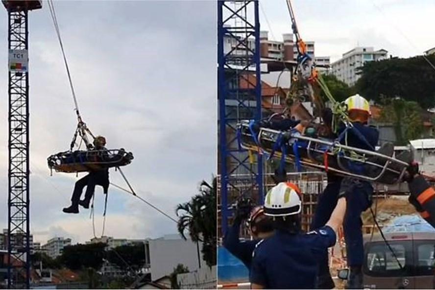 Singapore giải cứu công nhân bị thương từ cần cẩu cao 40 mét