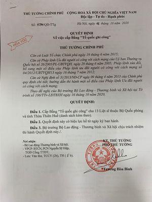 Cấp bằng 'Tổ quốc ghi công' cho 13 cán bộ, chiến sĩ hy sinh tại Trạm 67