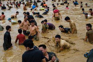 Hàng trăm người lao xuống ao bắt cá lấy may trong giá rét