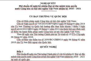 Nghị quyết phê chuẩn bổ nhiệm Đại sứ Việt Nam tại một số quốc gia