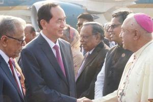 Chủ tịch nước Trần Đại Quang bắt đầu thăm cấp nhà nước Bangladesh