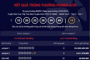Jackpot 1 với giải thưởng khủng 314 tỷ đồng vẫn chưa có người 'rinh'