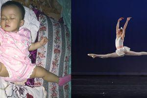 Ngộ nghĩnh khi trẻ em ngủ vẫn múa ballet