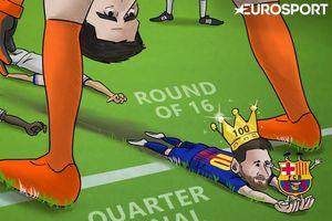 Ảnh biếm họa vui nhộn: Messi 'xỏ háng' Courtois giúp Barca vào tứ kết Champions League