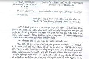 Vụ BV Mắt Việt Hàn bị tố 'suýt' làm mù mắt bệnh nhân: Sở Y tế TP.HCM xác lập hồ sơ xử lý!