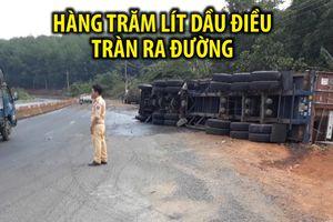 Tai nạn hi hữu, hàng trăm lít dầu điều tràn ra đường