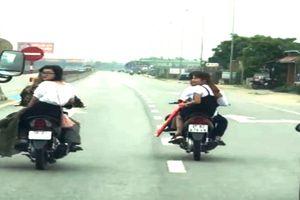 Nhóm thanh niên dàn hàng, chặn đầu ô tô trên Quốc lộ 1A