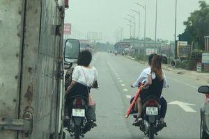 Công an triệu tập nhóm nam thanh nữ tú 'đầu trần' điều khiển xe máy chặn ô tô trên quốc lộ